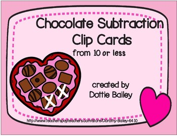 Chocolate Subtraction Clip Cards - from 10 or less