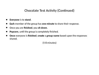 Chocolate Test Activity (Getting to Know You Activity)