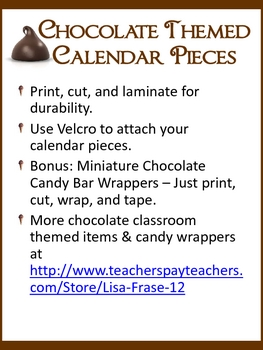 Chocolate Themed Calendar Pieces + Mini Choc Candy Bar Wrappers