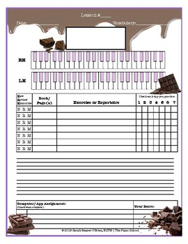 Chocolate Themed Piano Lessons Assignment Sheet