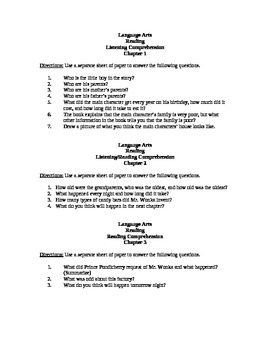 Chocolate Themed Unit- Comprehension Questions