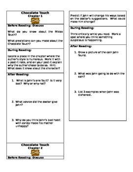Chocolate Touch Close Reading Chapter Bookmarks- Chapters 1 and 2