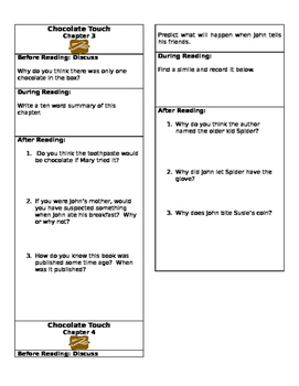 Chocolate Touch Close Reading Chapter Bookmarks- Chapters 3 and 4