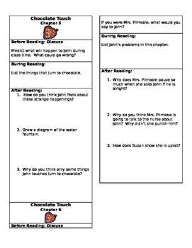 Chocolate Touch Close Reading Chapter Bookmarks- Chapters 5 and 6