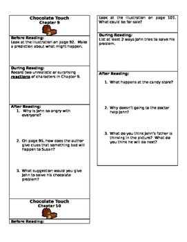 Chocolate Touch Close Reading Chapter Bookmarks- Chapters 9 and 10