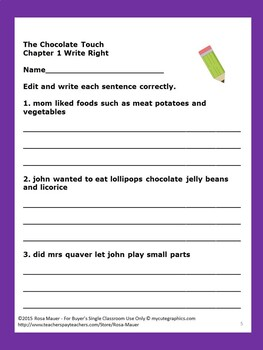 Chocolate Touch Literacy Book Unit