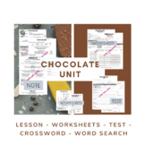 Chocolate Unit (note, worksheet, test, crossword, word search)