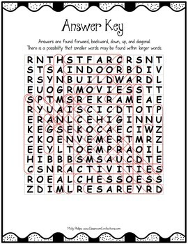 Indoor Recess Word Search Activity Puzzle