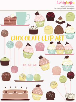 Chocolate bakery symbols clipart, confectionery clipart (LC06)