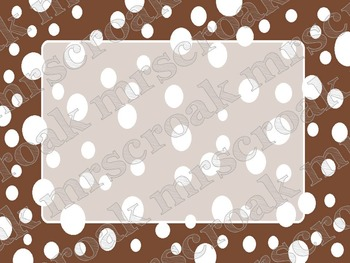 Labels: Chocolate brown & white polka dots, 10 per page