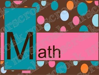 Bulletin Board Headers: Chocolate with Colorful Polka Dots