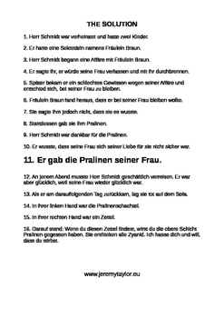 Chocolates - a murder mystery jigsaw story - in German