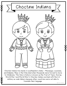 Indian Tribal Coloring Pages. Choctaw Indians Coloring Page Craft and Poster  Native American Tribes