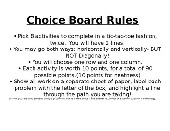 Choice Activity board for 2 step equations, translation and combine like terms