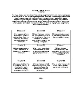 Choice Assessment for 7th Grade History