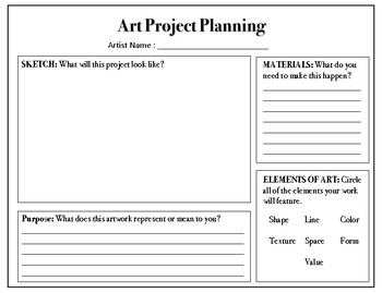 Choice Based Art Planning Sheet