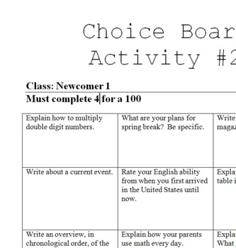 Choice Board #2