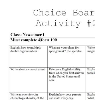Choice Board #2