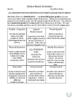 Choice Board Activity, School Days, World Language/ESL