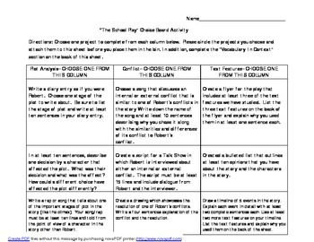 """Choice Board Activties for """"The School Play"""" by Gary Soto"""