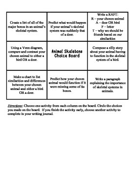Choice Board - Animal Skeletons