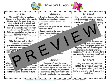 Reading and Writing Response Choice Board for April