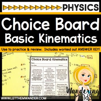 Choice Board: Basic Kinematics