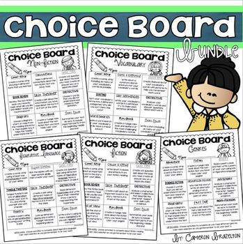 Choice Board Bundle: Fiction, Non-Fiction, Writing, Vocabulary, Genre, Biography