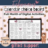 Choice Board Calendar for FEBRUARY for digital learning