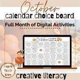 Choice Board Calendar- OCTOBER- digital choice board- dist