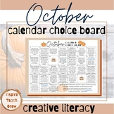 Choice Board Calendar- OCTOBER- printable pages- creative