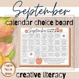 Choice Board Calendar- SEPTEMBER PRINTABLE- creative literacy