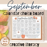 Choice Board Calendar- SEPTEMBER PRINTABLE- creative literacy