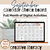 Choice Board Calendar- SEPTEMBER- digital activities for t