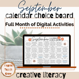 Choice Board Calendar- SEPTEMBER- digital activities for t