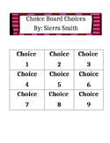 Choice Board Choices