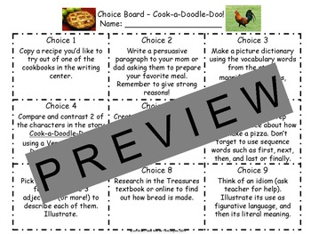 Reading and Writing Response Choice Board Cook-a-Doodle-Do!