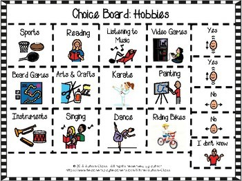 Choice Board Cut and Pastes