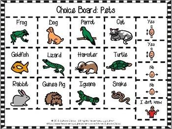 Choice Board Cut and Pastes