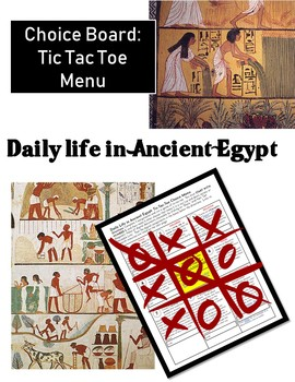 Choice Board: Daily Life in Ancient Egypt Tic Tac Toe Menu