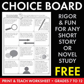 Choice Board, Differentiated Literary Analysis Short Story & Novel Activity CCSS