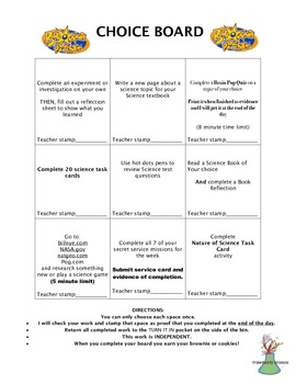 Choice Board- Early Finishers