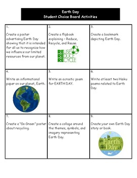 Earth Day - Student Choice Board