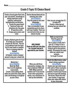Envision Math Grade 5 Topic 15 Choice Board