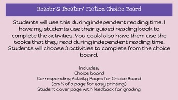 Choice Board  Fiction and Reader's Theater