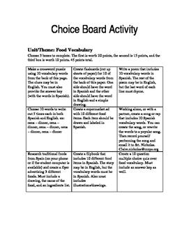 Choice Board- Food
