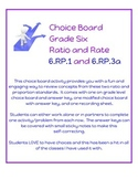 Choice Board - Grade 6 - Ratio and Rates - 6.RP.1 & 6.RP.3a