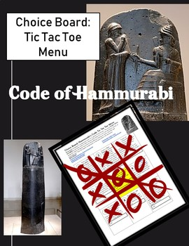 Choice Board: Hammurabi's Code Tic Tac Toe Menu
