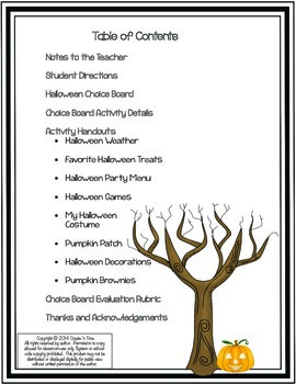 Choice Board Math Activities for Halloween