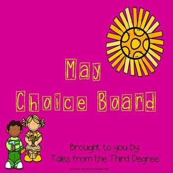 May Activities Reading and Writing  Response Choice Board